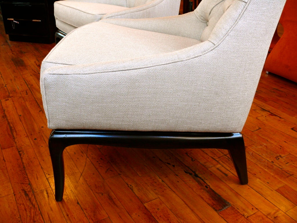 Pair of TH Robsjohn Gibbings Style High Back Diamond Chairs image 7