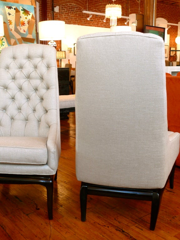 Pair of TH Robsjohn Gibbings Style High Back Diamond Chairs image 8