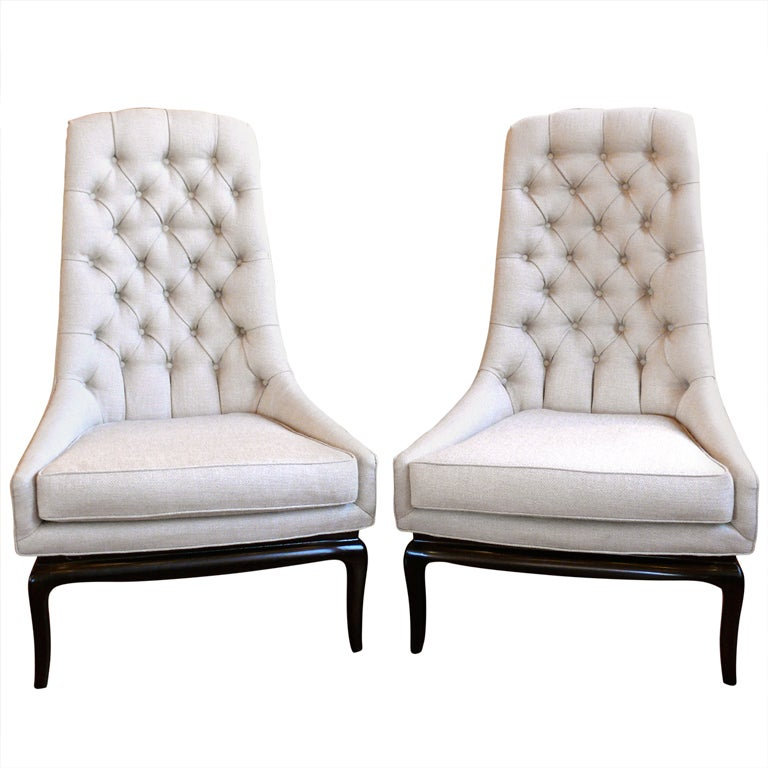Pair of TH Robsjohn Gibbings Style High Back Diamond Chairs