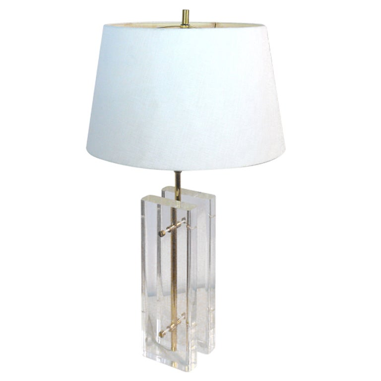 Paul Hansen Lucite And Brass Table Lamp For Sale At 1stdibs