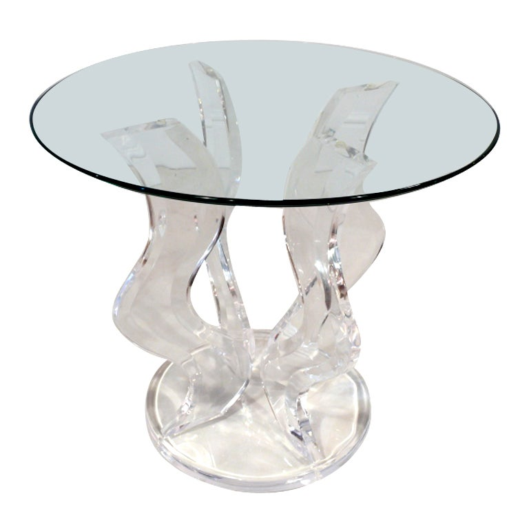 Sculptural Lucite and Glass Side Table at 1stdibs
