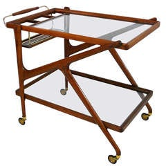 Italian Tiered Walnut and Glass Bar Cart
