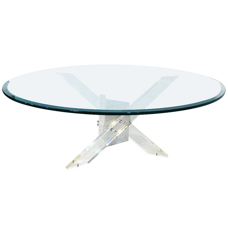 Lucite And Chrome Tripod Coffee Table For Sale