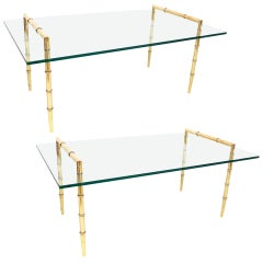 Pair of Faux Bamboo and Glass Cocktail Tables