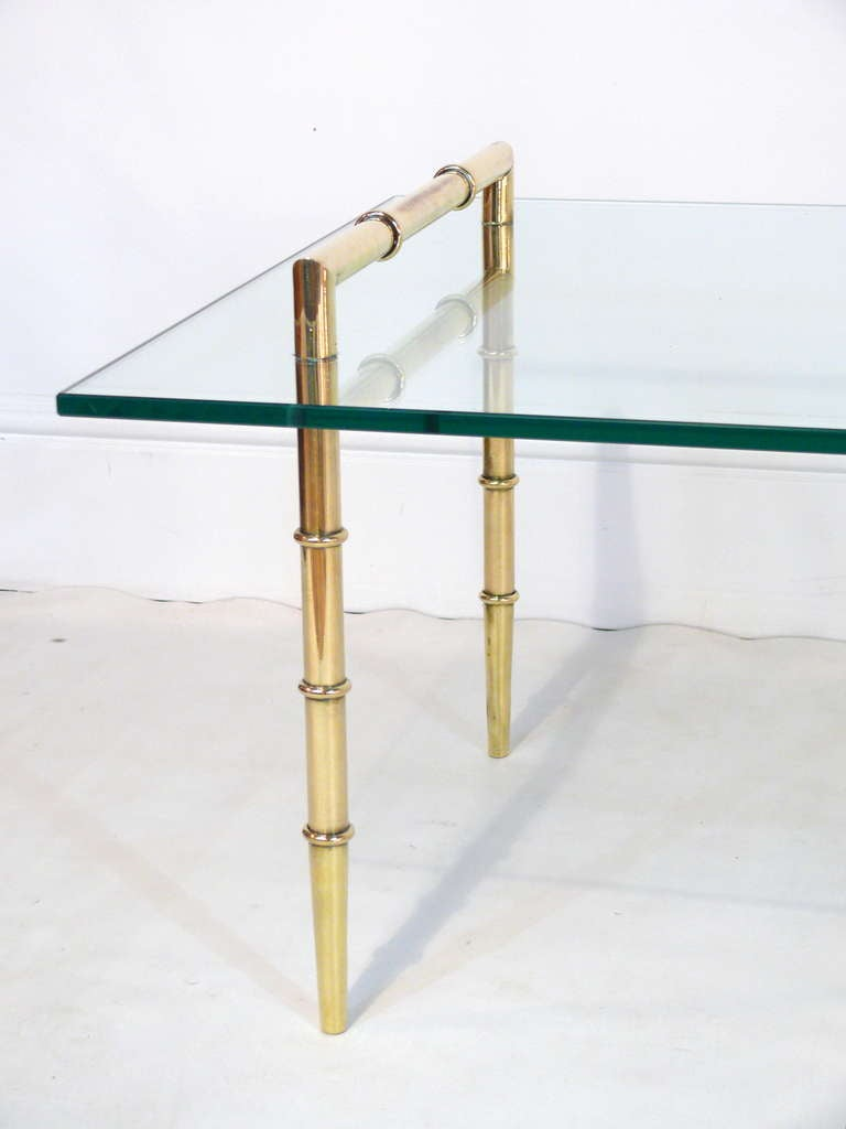 Faux Bamboo And Glass Cocktail Table Image 4
