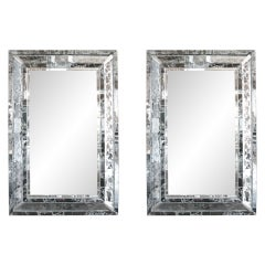 Pair of Venetian Style Silver Veined Mirrors