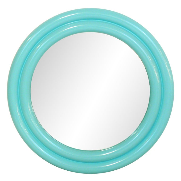 "40"" 1970's Tiffany Blue Lacquered Mirror"