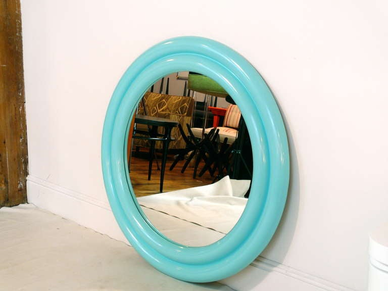 "Double border 1970's mirror newly lacquered in Tiffany Blue.  39"" diameter makes this a real statement piece.