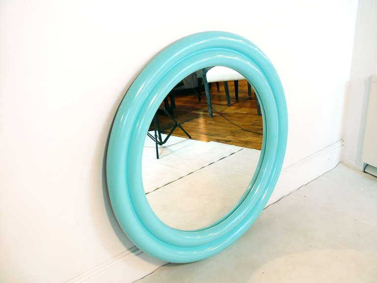 "Mid-Century Modern 40"" 1970's Tiffany Blue Lacquered Mirror For Sale"