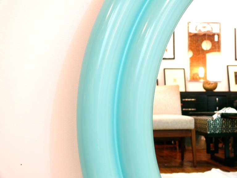 "American 40"" 1970's Tiffany Blue Lacquered Mirror For Sale"