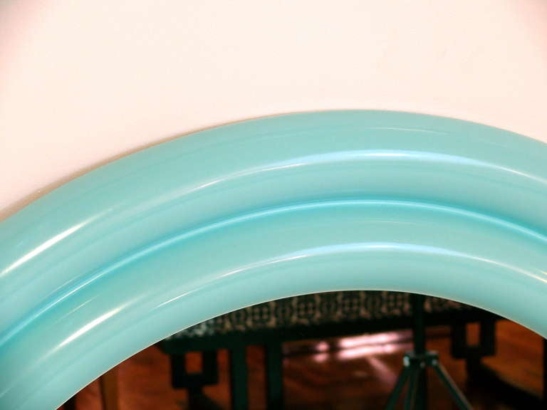 "20th Century 40"" 1970's Tiffany Blue Lacquered Mirror For Sale"