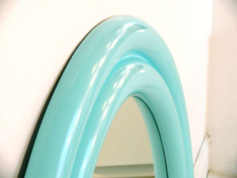 "40"" 1970's Tiffany Blue Lacquered Mirror For Sale 1"