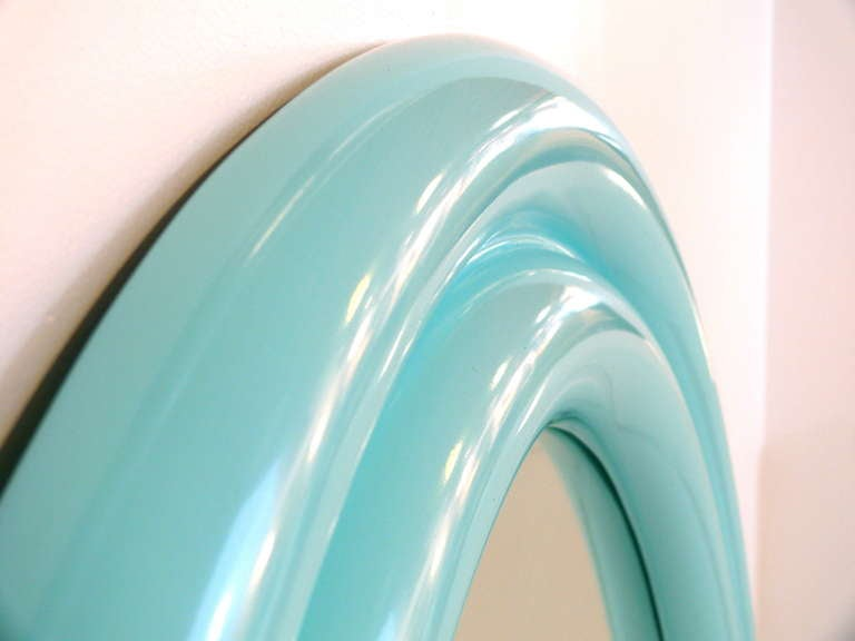 "40"" 1970's Tiffany Blue Lacquered Mirror For Sale 2"