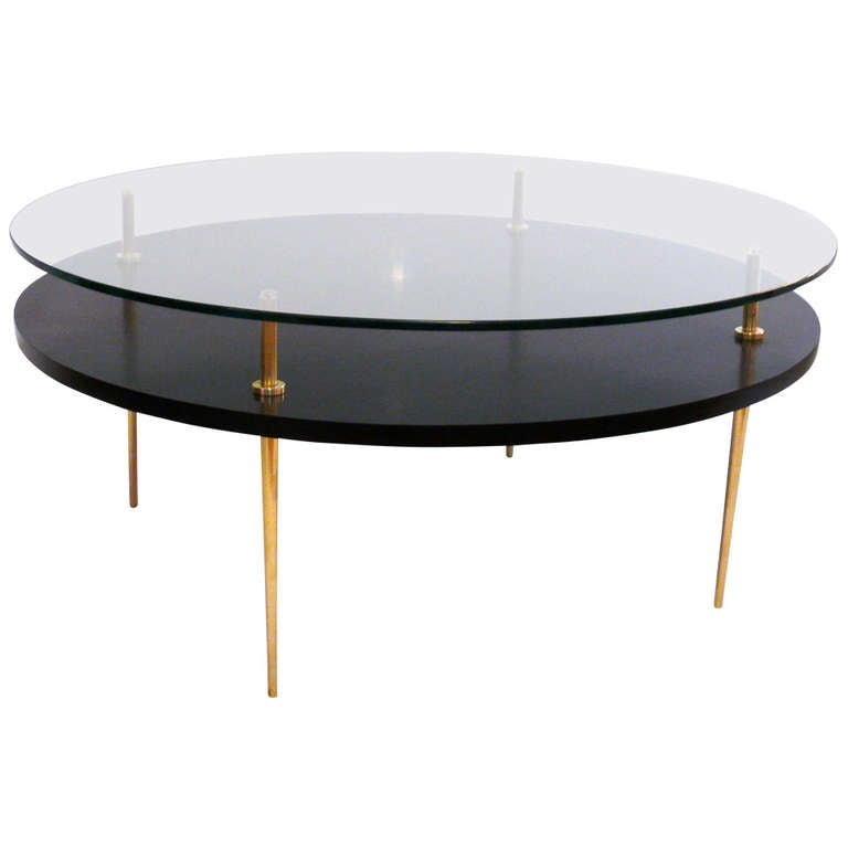Two Tiered Glass Coffee Table In The Manner Of Gio Ponti At 1stdibs