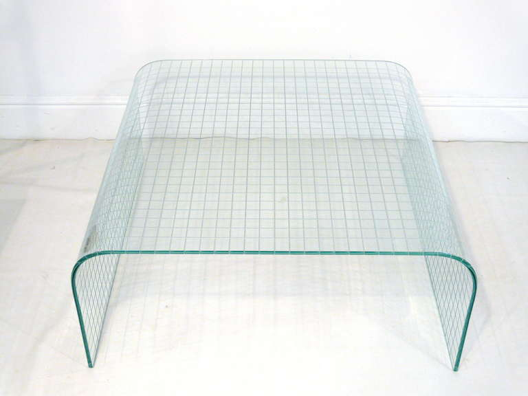 leon rosen waterfall glass coffee table for sale at 1stdibs