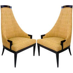 Pair of Sculptural High Back Chairs