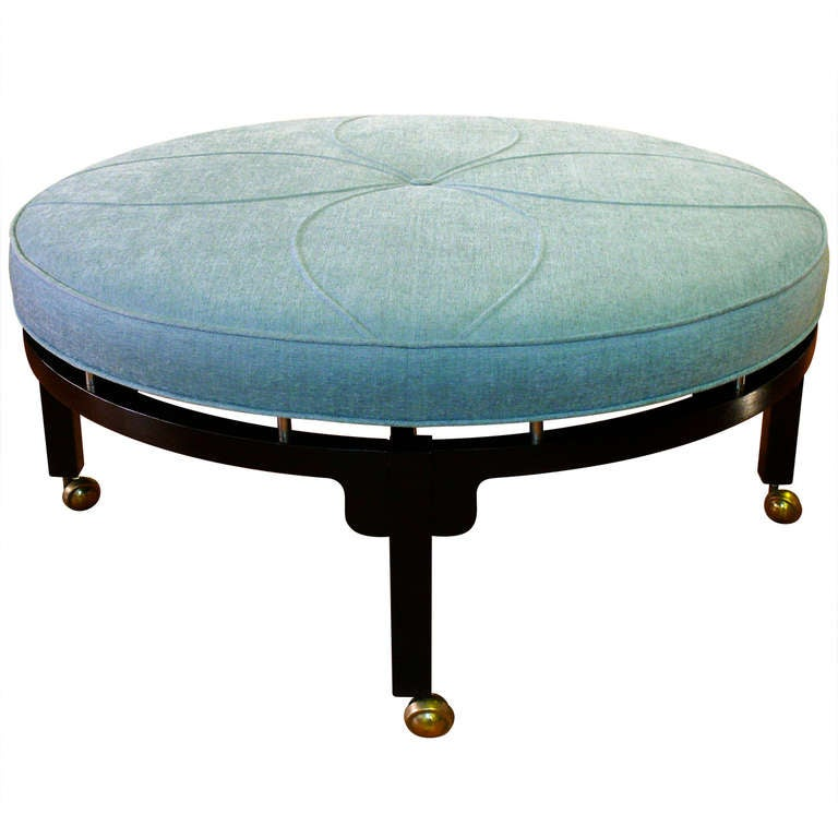 art deco round ottoman at 1stdibs. Black Bedroom Furniture Sets. Home Design Ideas