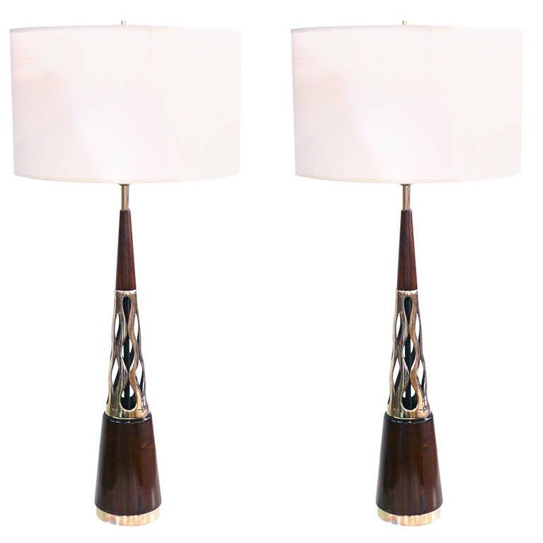 Pair of Tony Paul Walnut and Brass Lamps