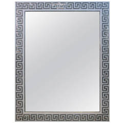 1940's Silver Leaf Greek Key Mirror