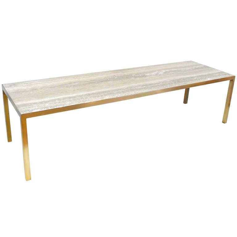 Italian Travertine And Brass Coffee Table At 1stdibs