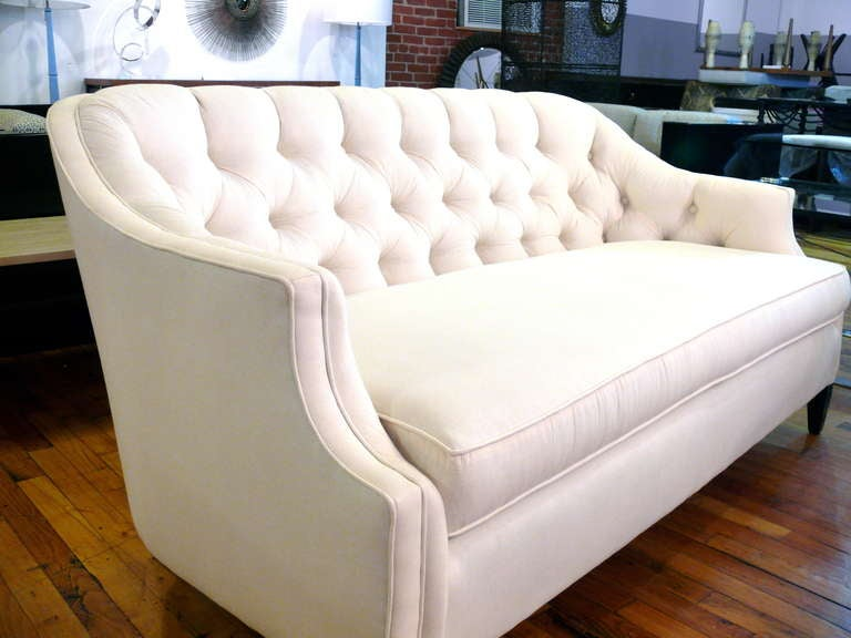 Pair Of Tufted Back Curvaceous Settees At 1stdibs
