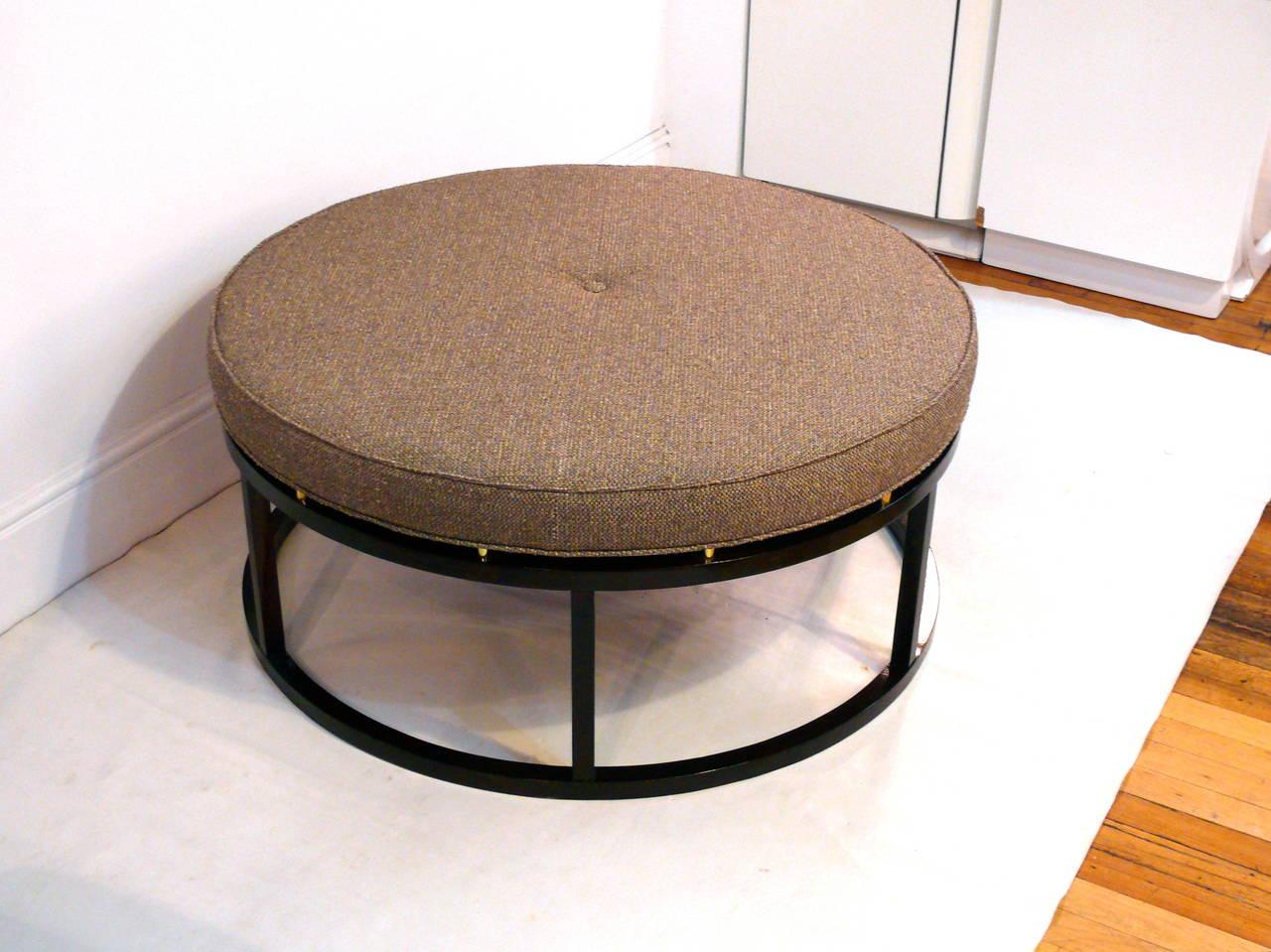 Large Round Ottoman : Large Mid-Century Round Ottoman at 1stdibs