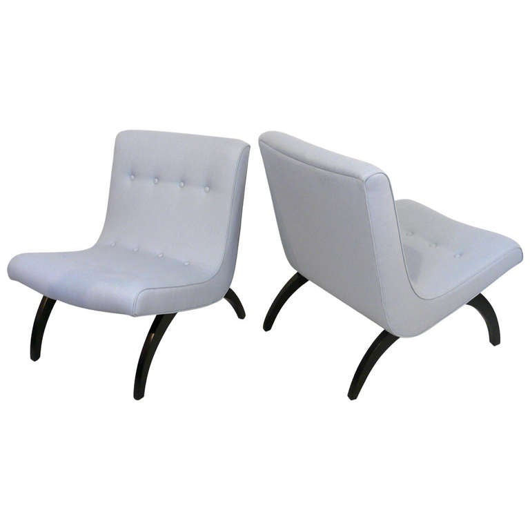 Awesome Pair Of Milo Baughman Scoop Chairs For Sale