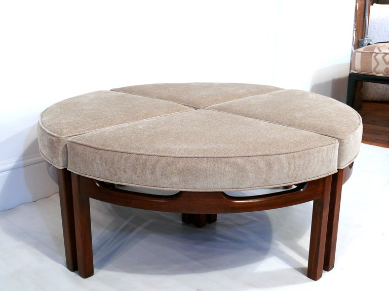 Mid Century Upholstered Sectional Ottoman Cocktail Table