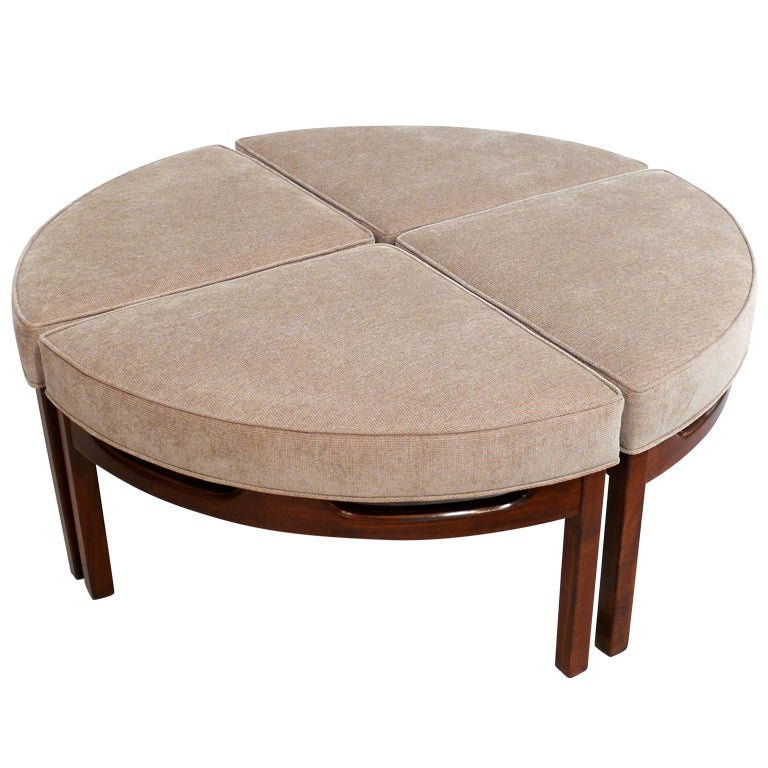 Mid Century Upholstered Sectional Ottoman Cocktail Table At 1stdibs