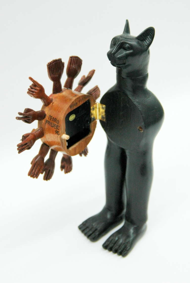 Pedro Friedeberg Egyptian Cat Clock In Good Condition For Sale In NYC, NY