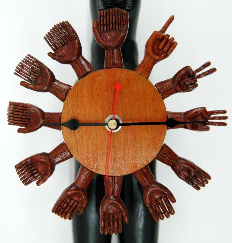 Wood Pedro Friedeberg Egyptian Cat Clock For Sale