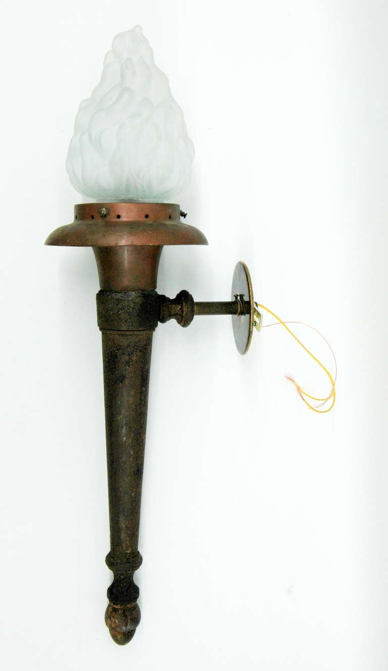 Wall Sconces That Look Like Torches : Pair of Large Neoclassical Torch Sconces For Sale at 1stdibs