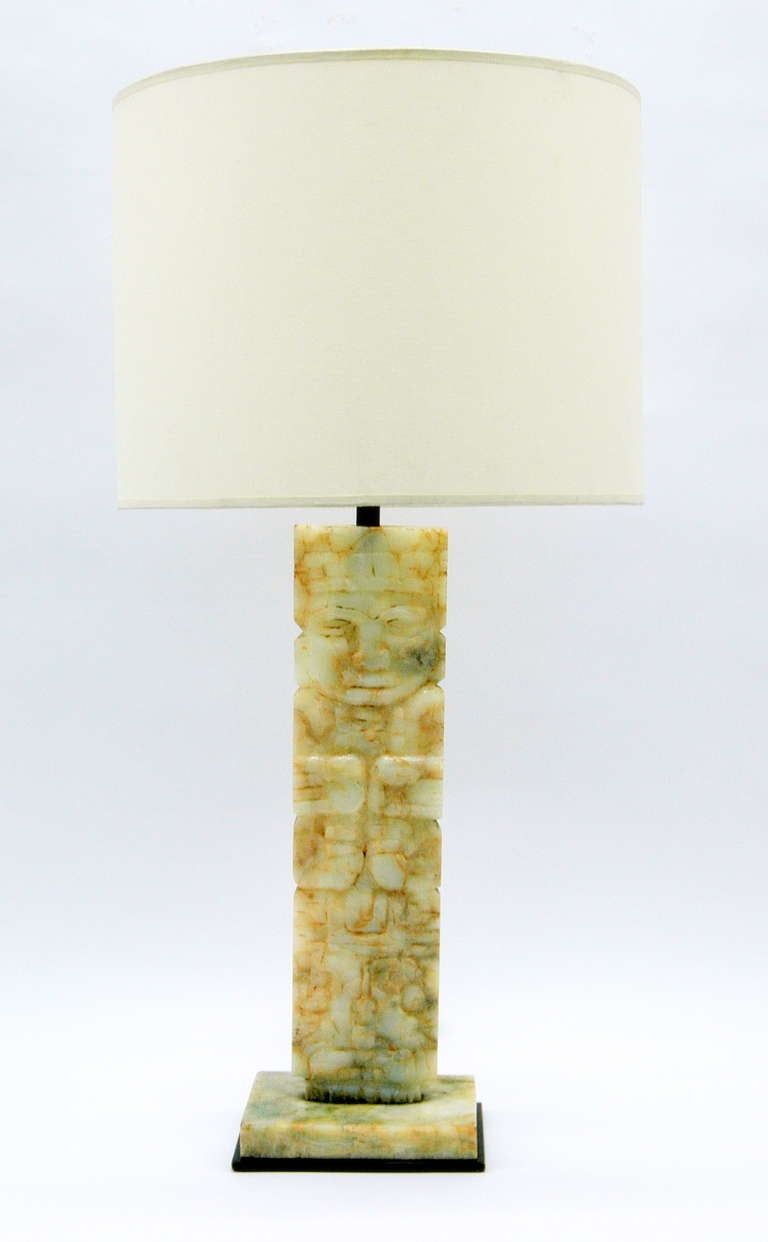 table lamp with mayan design marble base at 1stdibs. Black Bedroom Furniture Sets. Home Design Ideas
