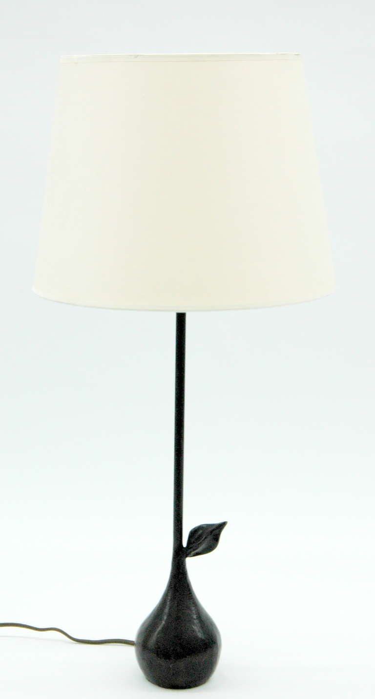 a small wrought iron lamp with pear form base for sale at. Black Bedroom Furniture Sets. Home Design Ideas