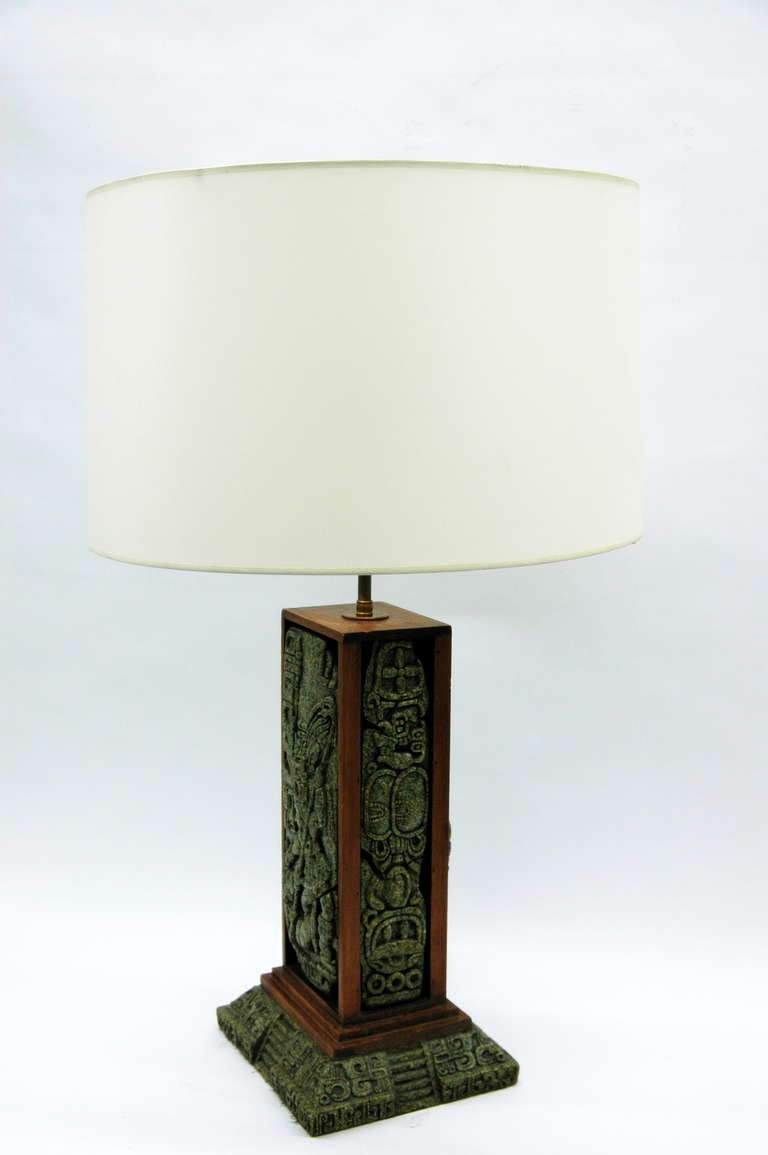 Unique Zabriski Table Lamp With Mayan Inspired Tile Panels