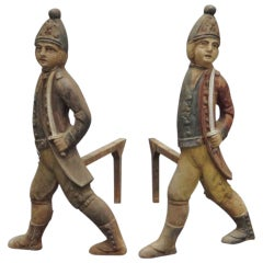 Pair Hessian Soldier Andirons, American, circa 1880
