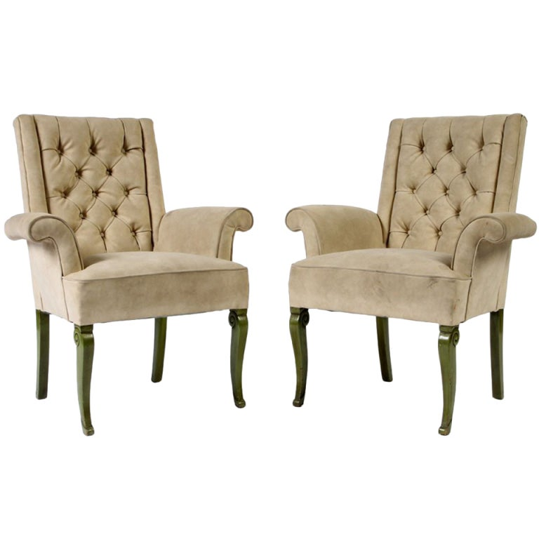 Pair Hollywood Regency Armchairs with Tufted Upholstery at 1stdibs