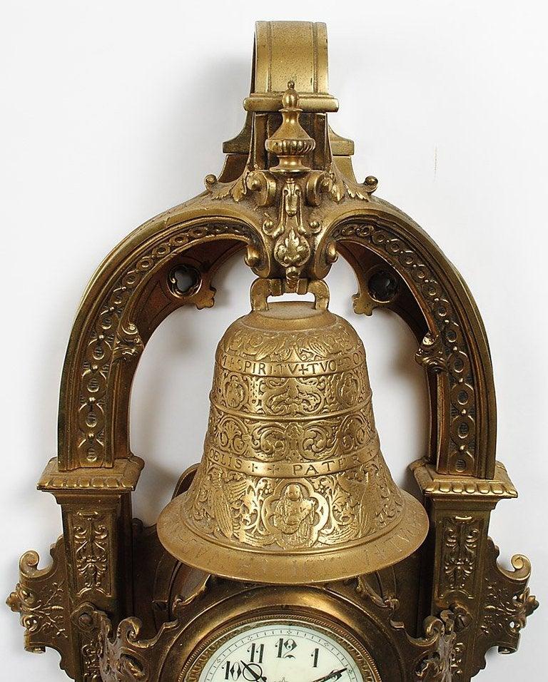 Baroque Large Napoleon III Gilt Bronze Cartel Clock For Sale
