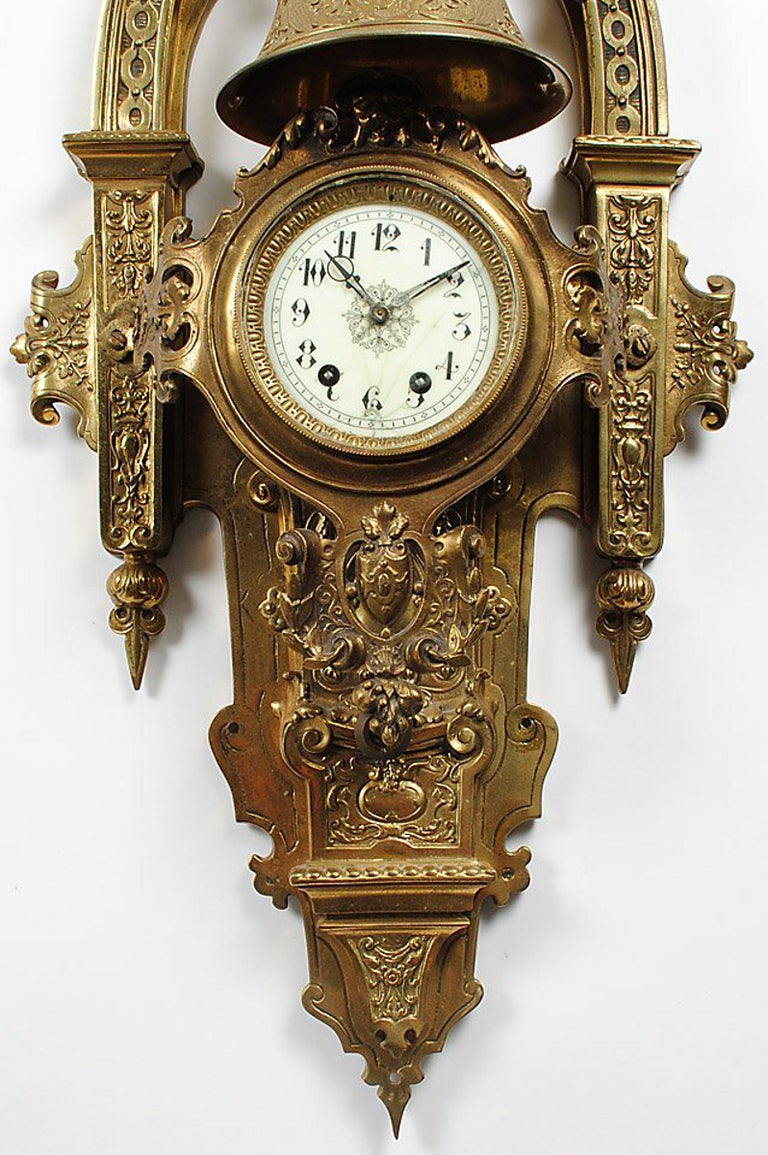 French Large Napoleon III Gilt Bronze Cartel Clock For Sale