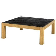 French Rift Oak Coffee Table with a Textured Slate Top