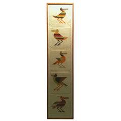 Set of Five Folk Art Textiles of Birds Framed as One Tall Work
