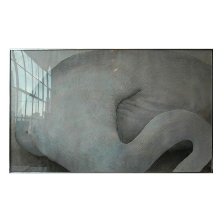 A large fine pastel drawing of an abstract figure from the Cordier and Ekstrom Gallery, Madison Avenue, New York by Gillian Bradshaw-Smith.