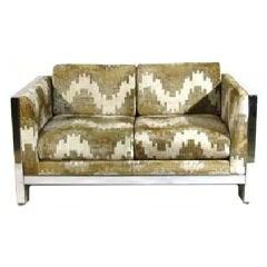Mid-Century Milo Baughman Chrome Sofa Couch
