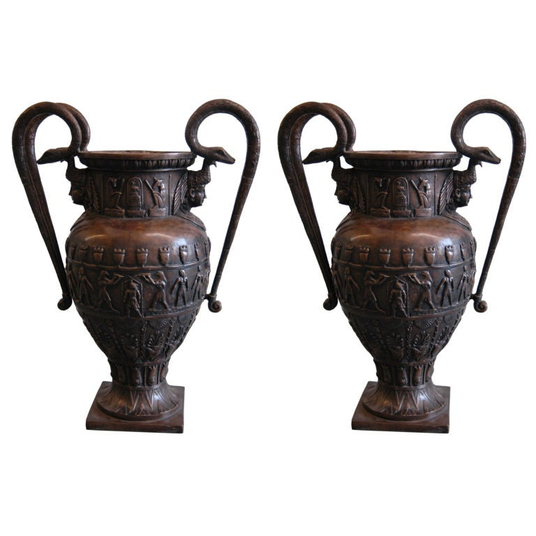 Pair of Large Patinated-Bronze Double-Handled Vases