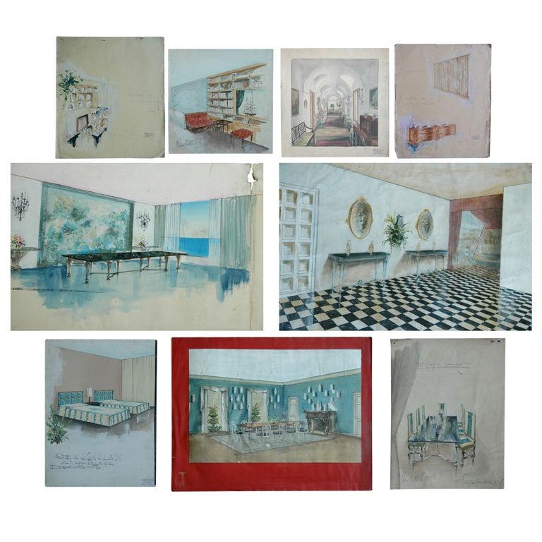 Nine Watercolors by Designer Pierre Lottier