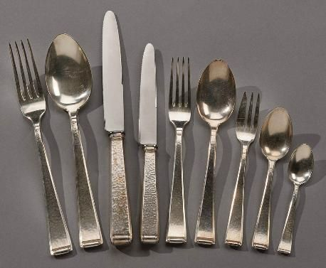 100 Piece Hammered Silverware Service at 1stdibs