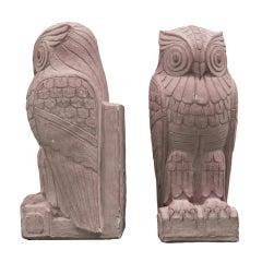 Hefty Pair of Art Deco Owl Bookends