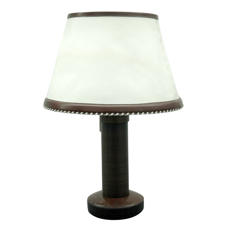 Important Table Lamp with Original Shade by Dupré-Lafon for Hermès