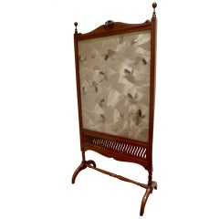 Fine English Floor Fire Screen with Japanese Textile