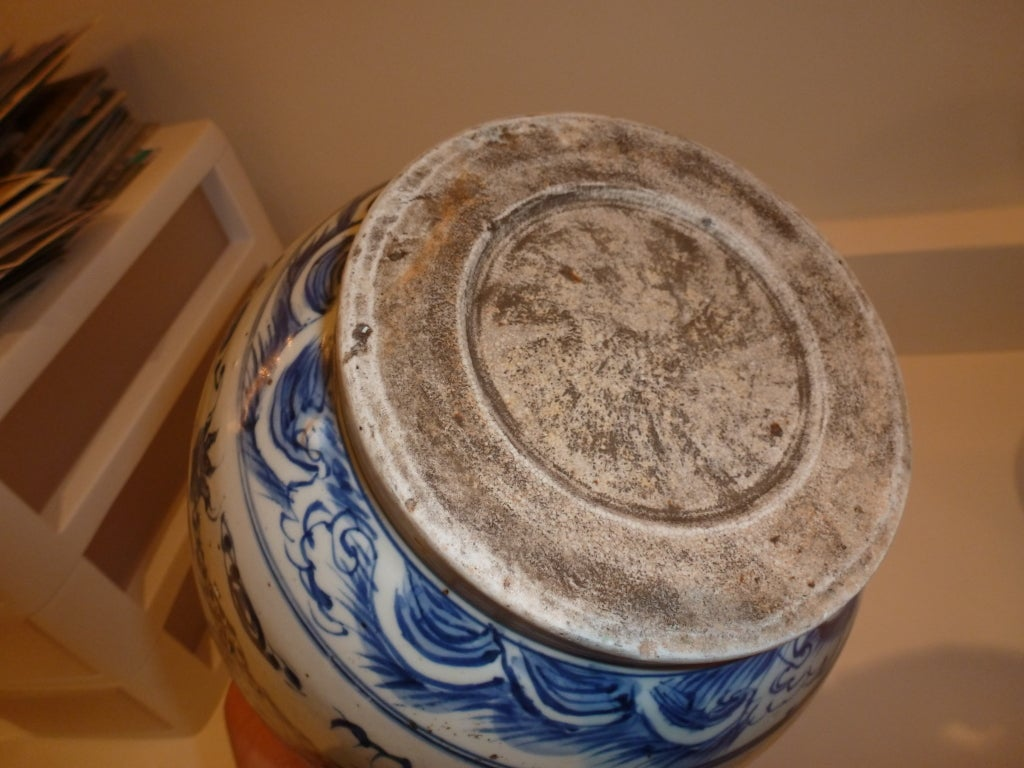 Blue and White Jar Vase In Good Condition For Sale In NYC, NY